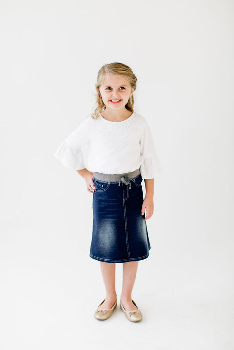'Ava' Girl Knit Denim Skirt