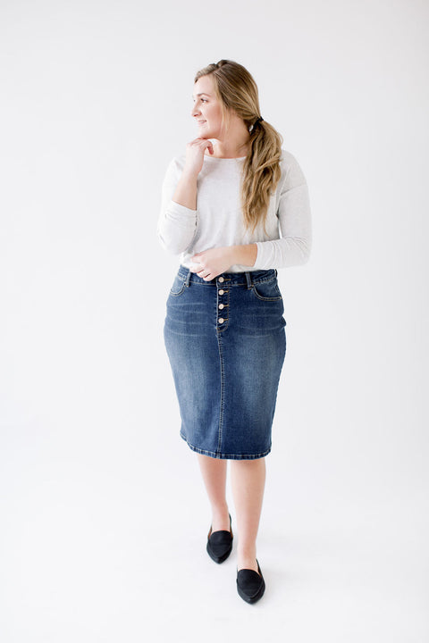 'Blair' Knee Length Denim Skirt