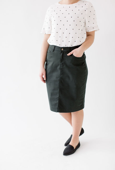 'Leah' Denim Skirt in Forest Green