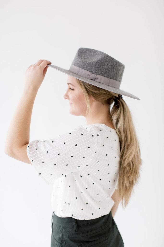Flat Brim Wool Fedora Hat in Grey