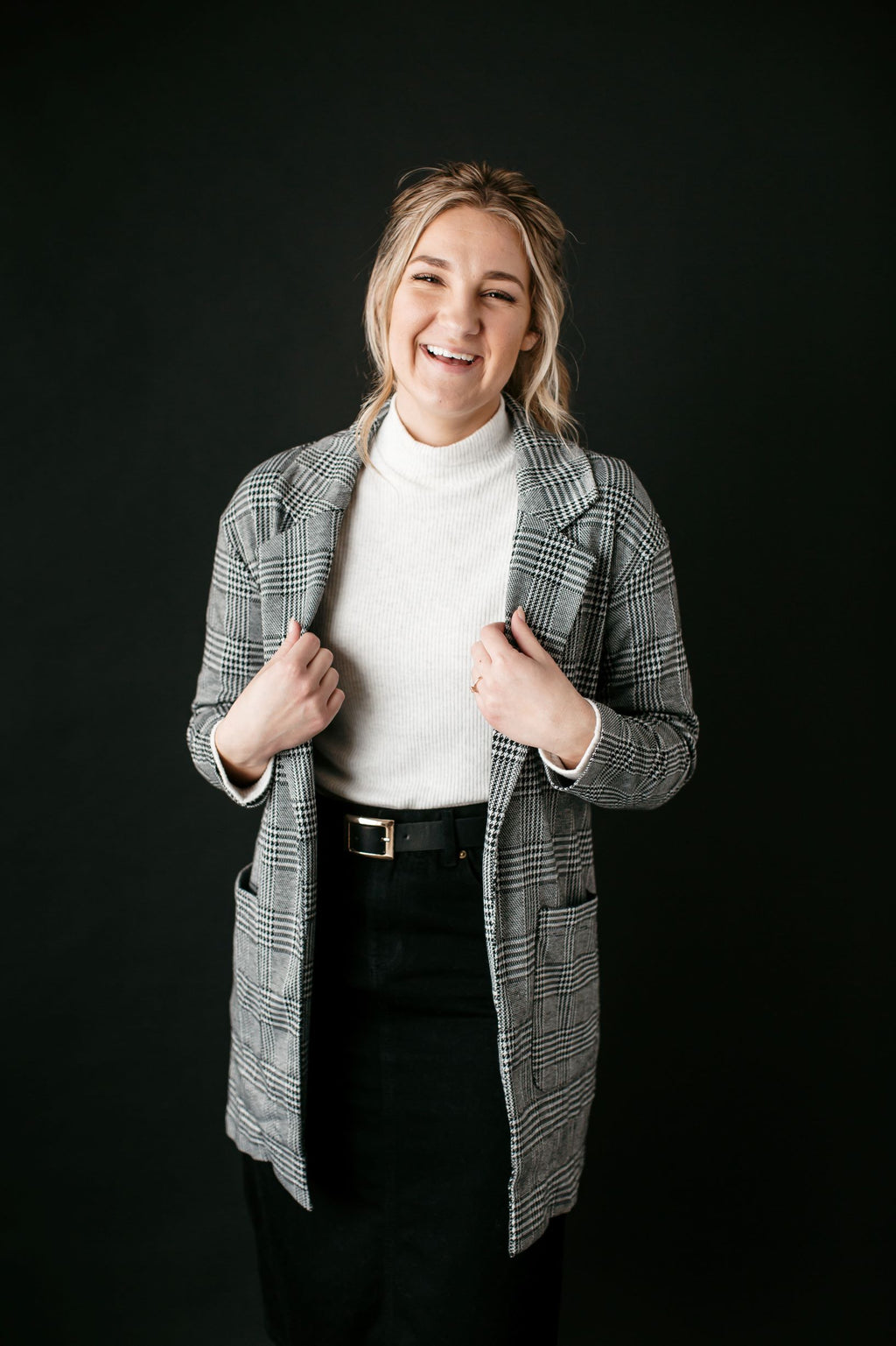 'Reagan' Knit Blazer in Grey Plaid