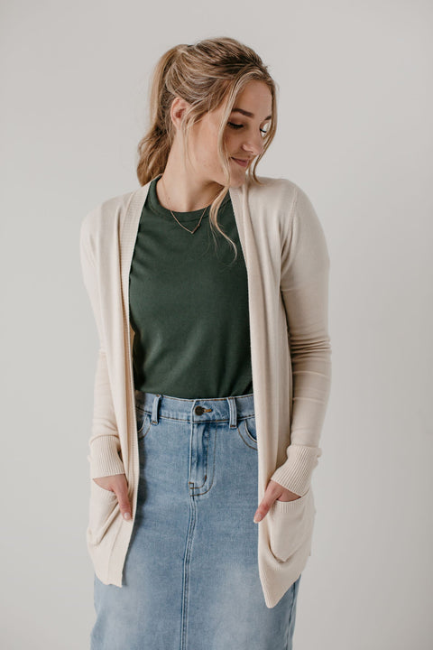 'Becca' Soft Knit Cardigan in Cream