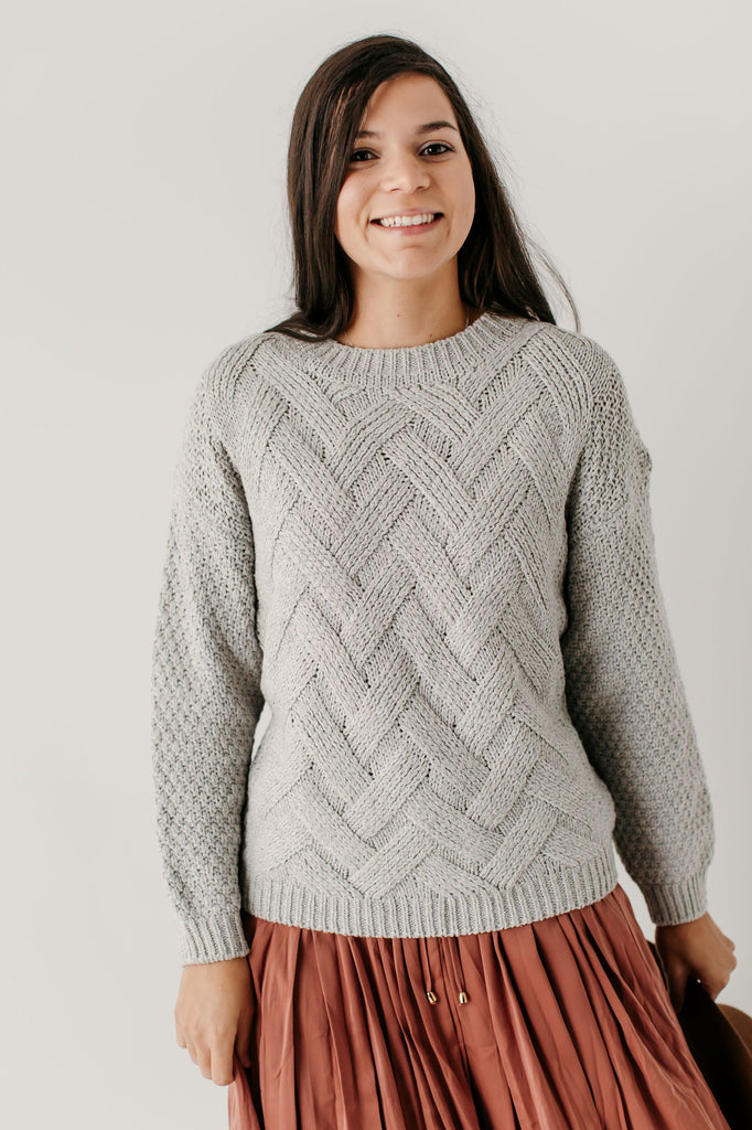 'Pearl' Cable Knit Sweater in Soft Grey