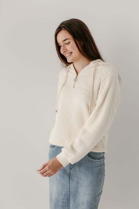 'Ansley' Half Zip Sherpa Pullover in Cream