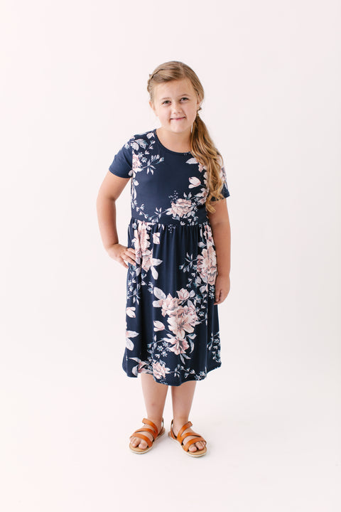 'Annaliese' Girl Midi Dress in Floral Navy