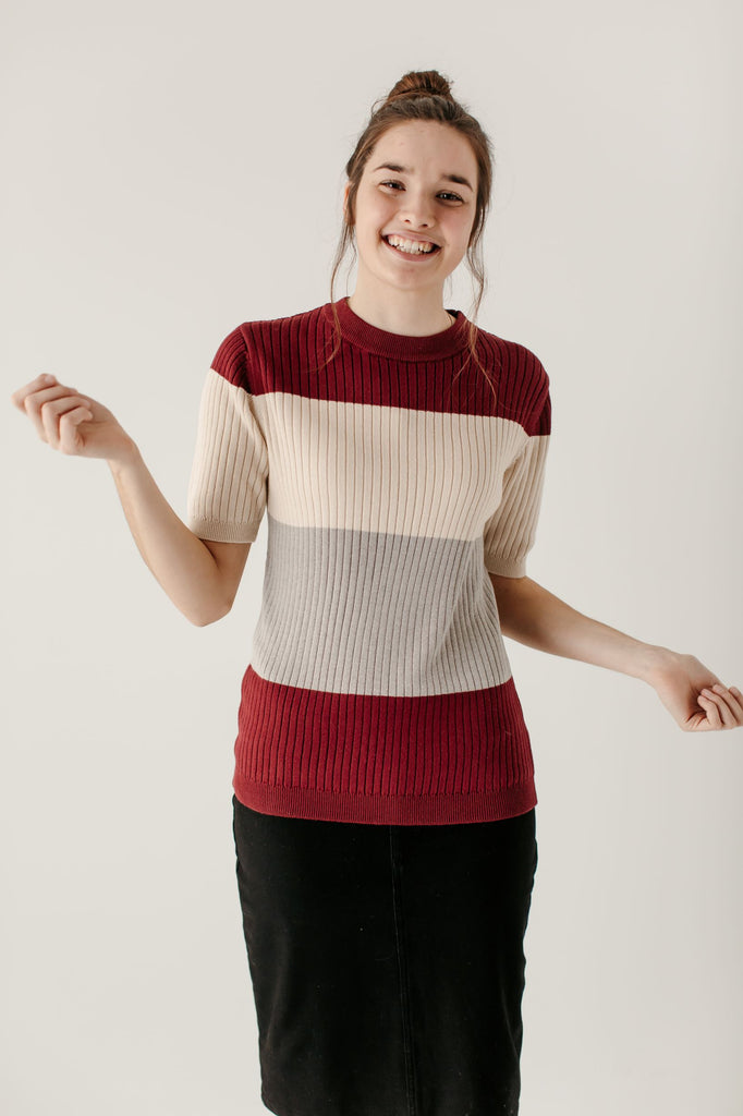'Enya' Color Block Sweater Top