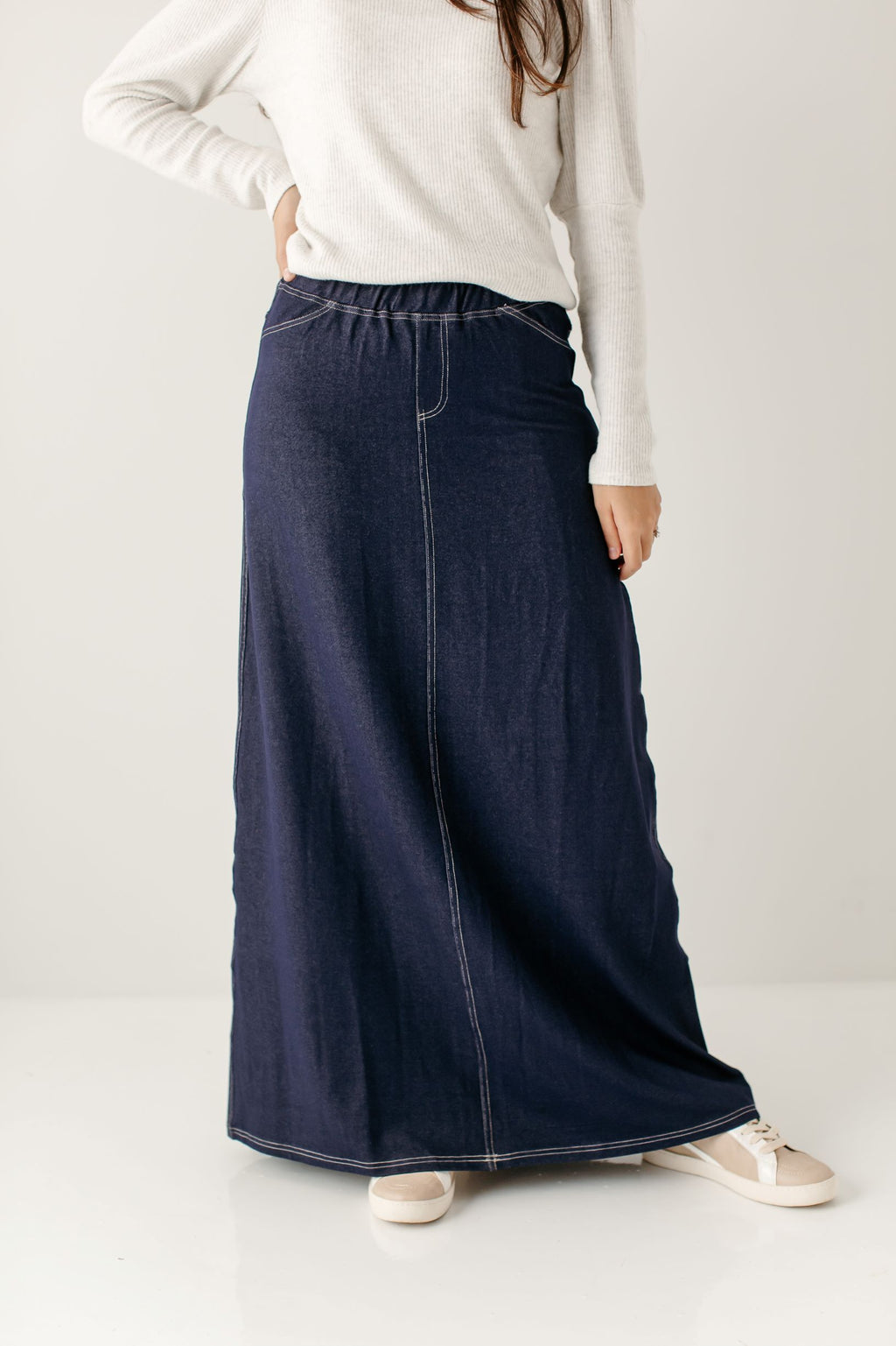 'Caroline' Long Denim Knit Skirt