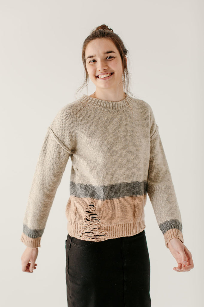 'Leighton' Distressed Detail Color Block Sweater
