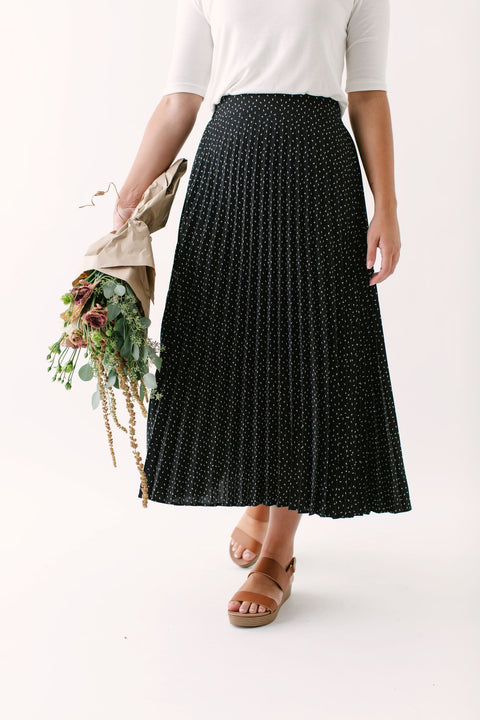 'Winslet' Midi Skirt in Black Print