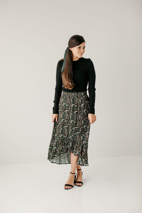 'Vanessa' Floral Hi-low Ruffled Skirt
