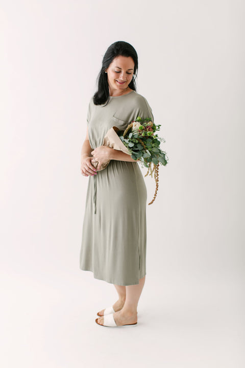 """Lucy"" Everyday Dress in Sage"