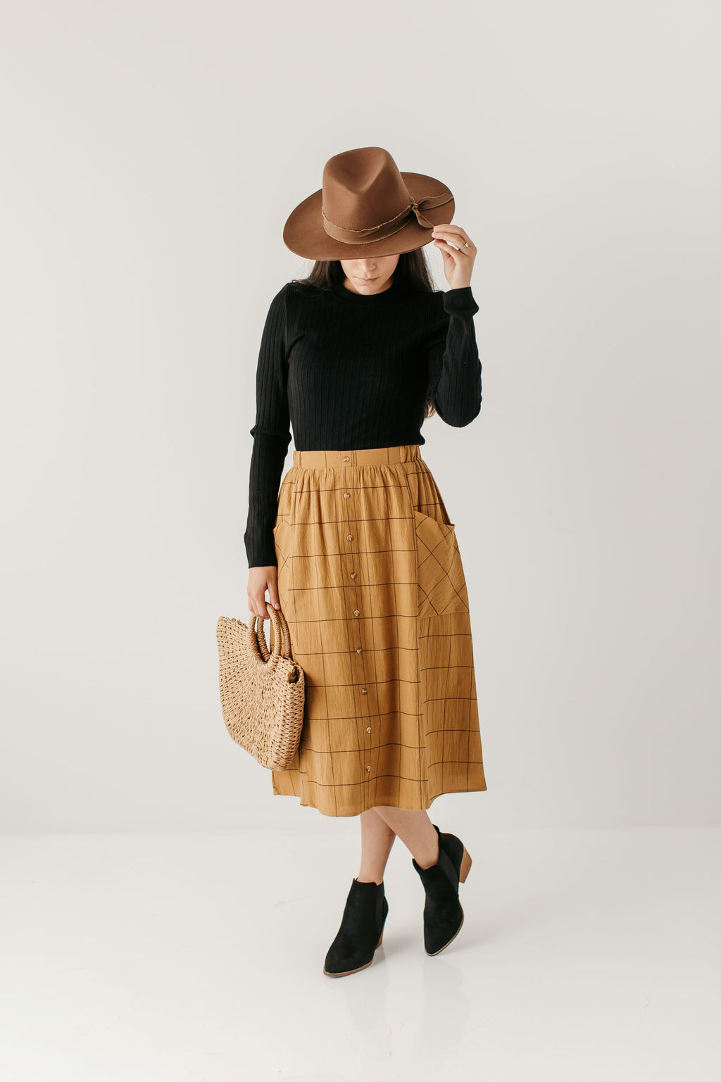 'Tatum' Windowpane Midi Skirt in Camel