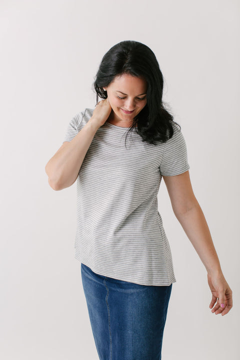 'Easton' Striped Top w/ Back Button Detail