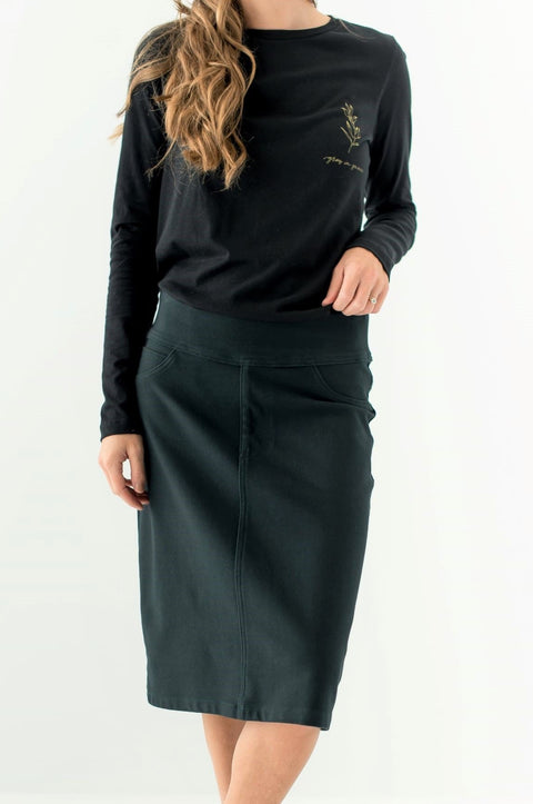 'Sara' Knit Denim Skirt in Forest Green