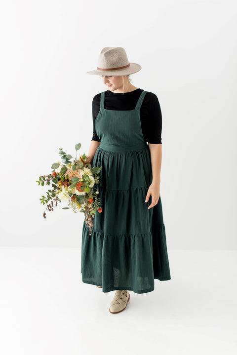 'Asher' Overall Dress in Hunter Green