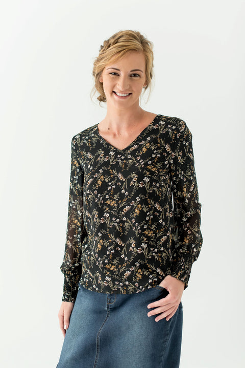 'Tennyson' Blouse in Midnight Floral