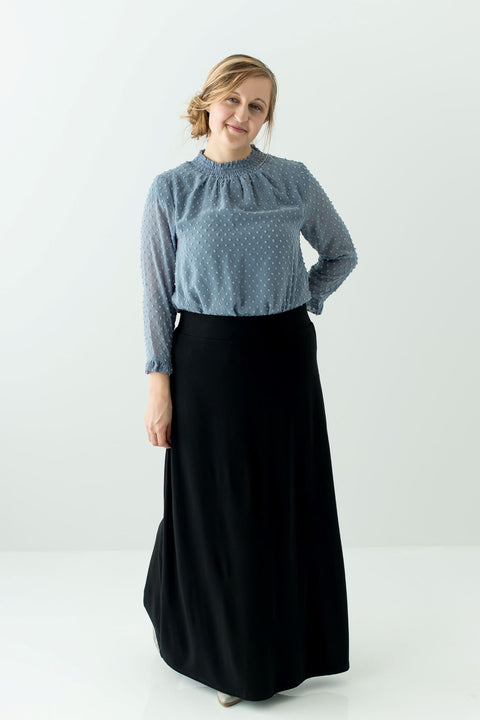 'Shiloh' Swiss Dot Top in Dusty Blue