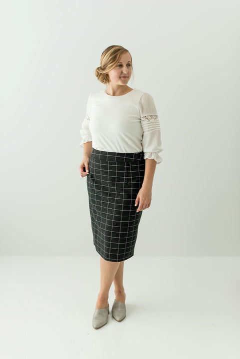 'Anna' Skirt in Charcoal Windowpane