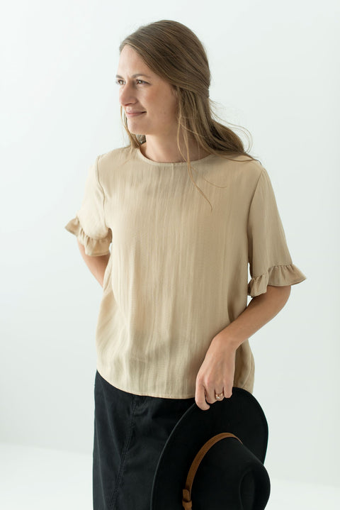 'Wilder' Top with Back Button Detail in Natural