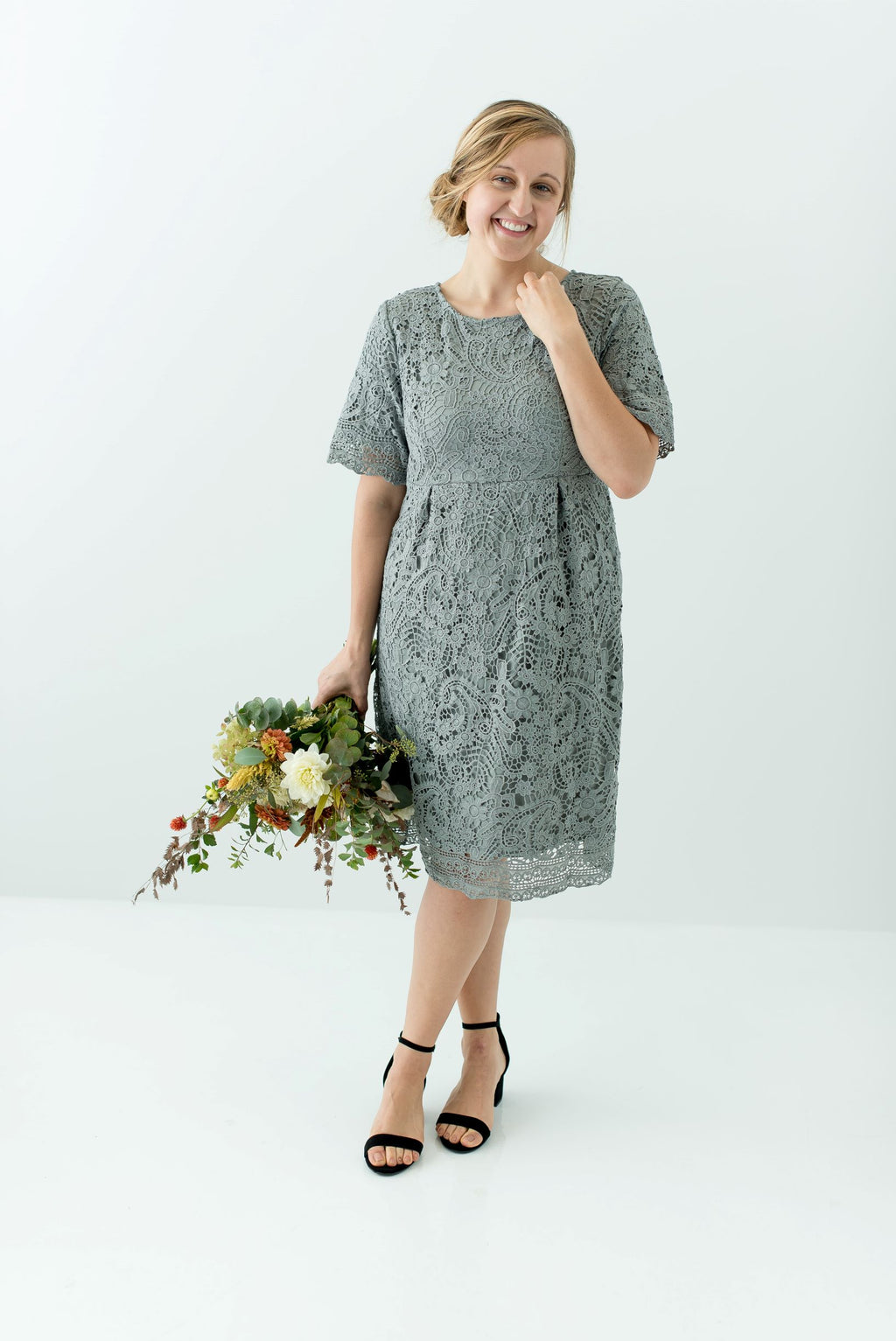 'Adrienne' Lace Dress in Pewter