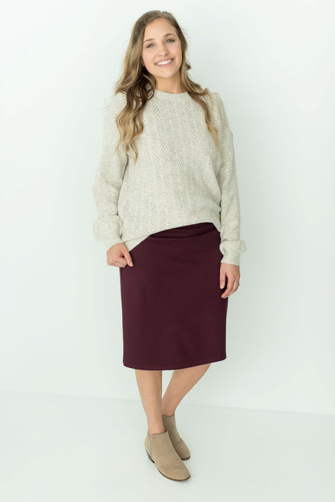'Anna' Skirt in Wine