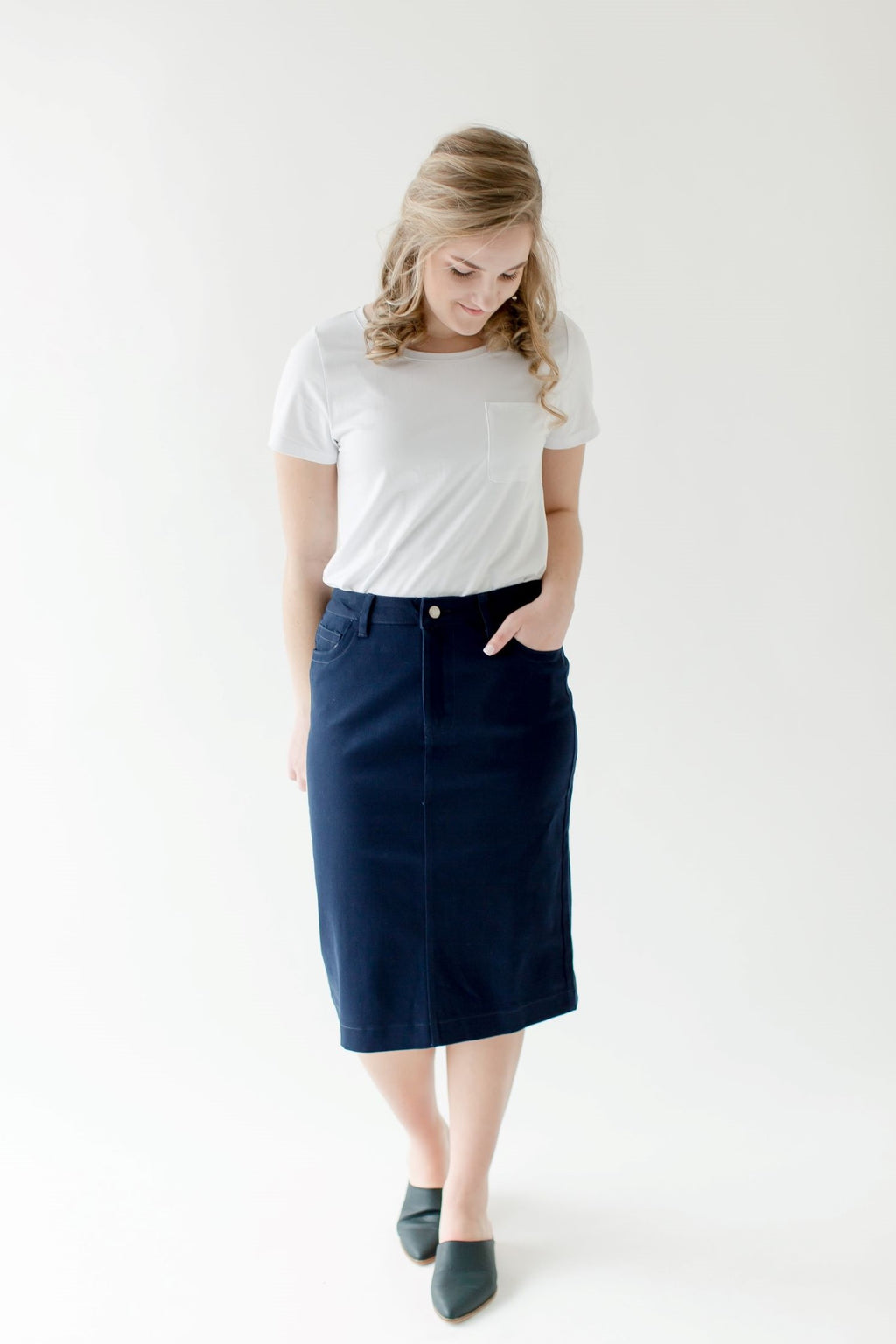 'Leah' Denim Skirt in Navy Blue