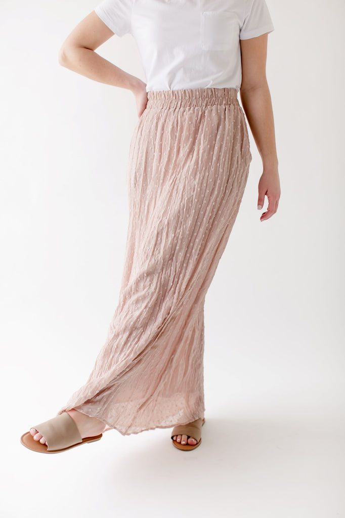 'Darcy' Swiss Dot Maxi Skirt in Pale Rose