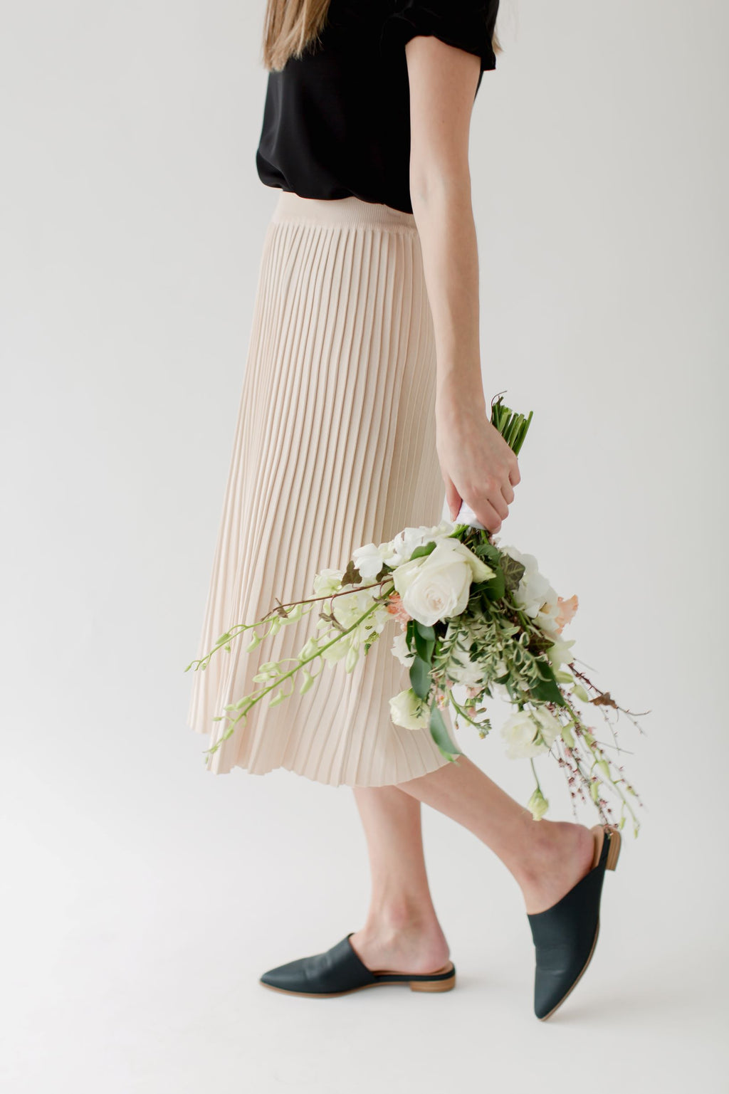 'Dempsey' Pleated Sweater Skirt in Cream
