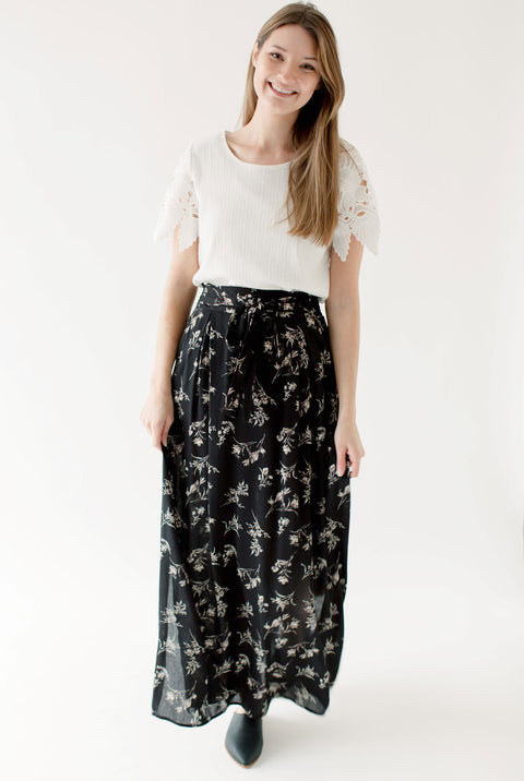 'Patience' Black Floral Maxi Skirt