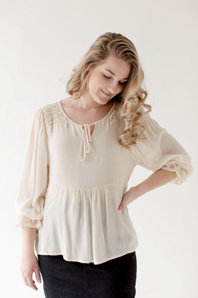 'Carolina' Lace Trimmed Blouse in Oatmeal