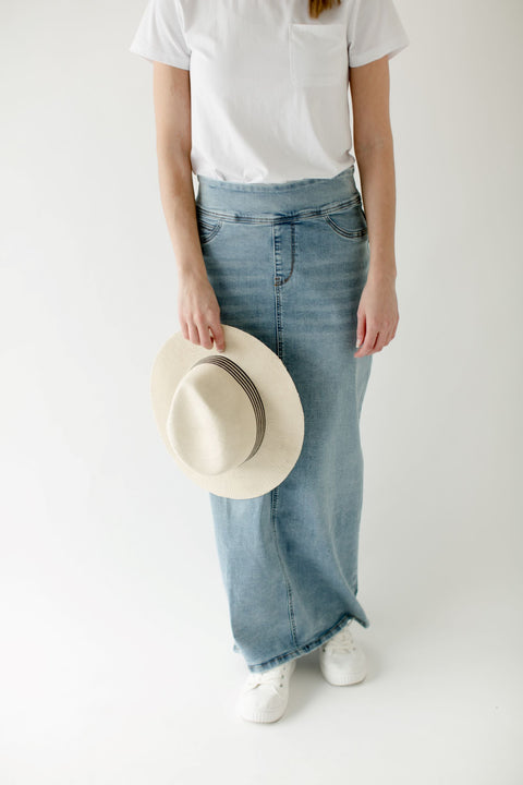 'Sara' Classic Long Denim Skirt Light Wash