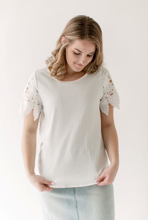 London Lace Sleeve Top in Ivory