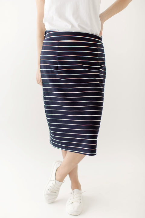 'Anna' Skirt in Navy with White Stripes