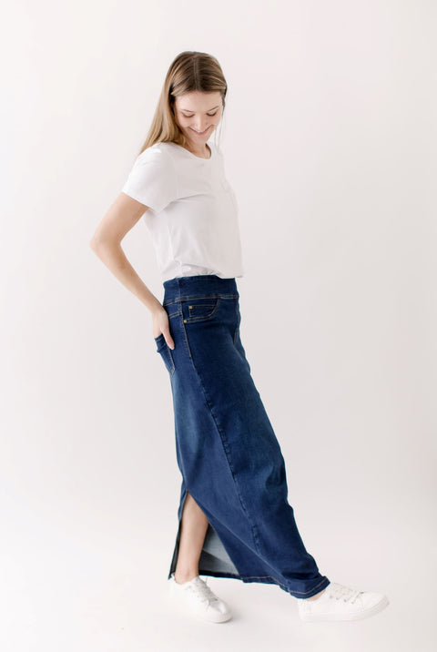'Sara' Classic Long Denim Skirt Dark Wash