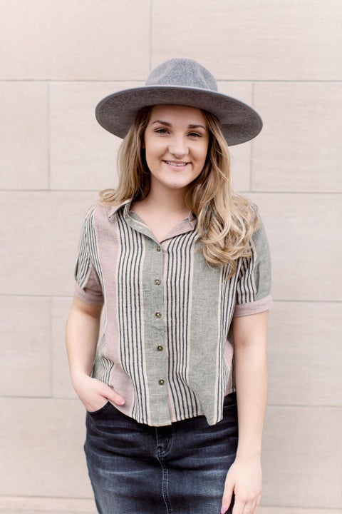 Hepburn Multi-Stripe Button Down Top