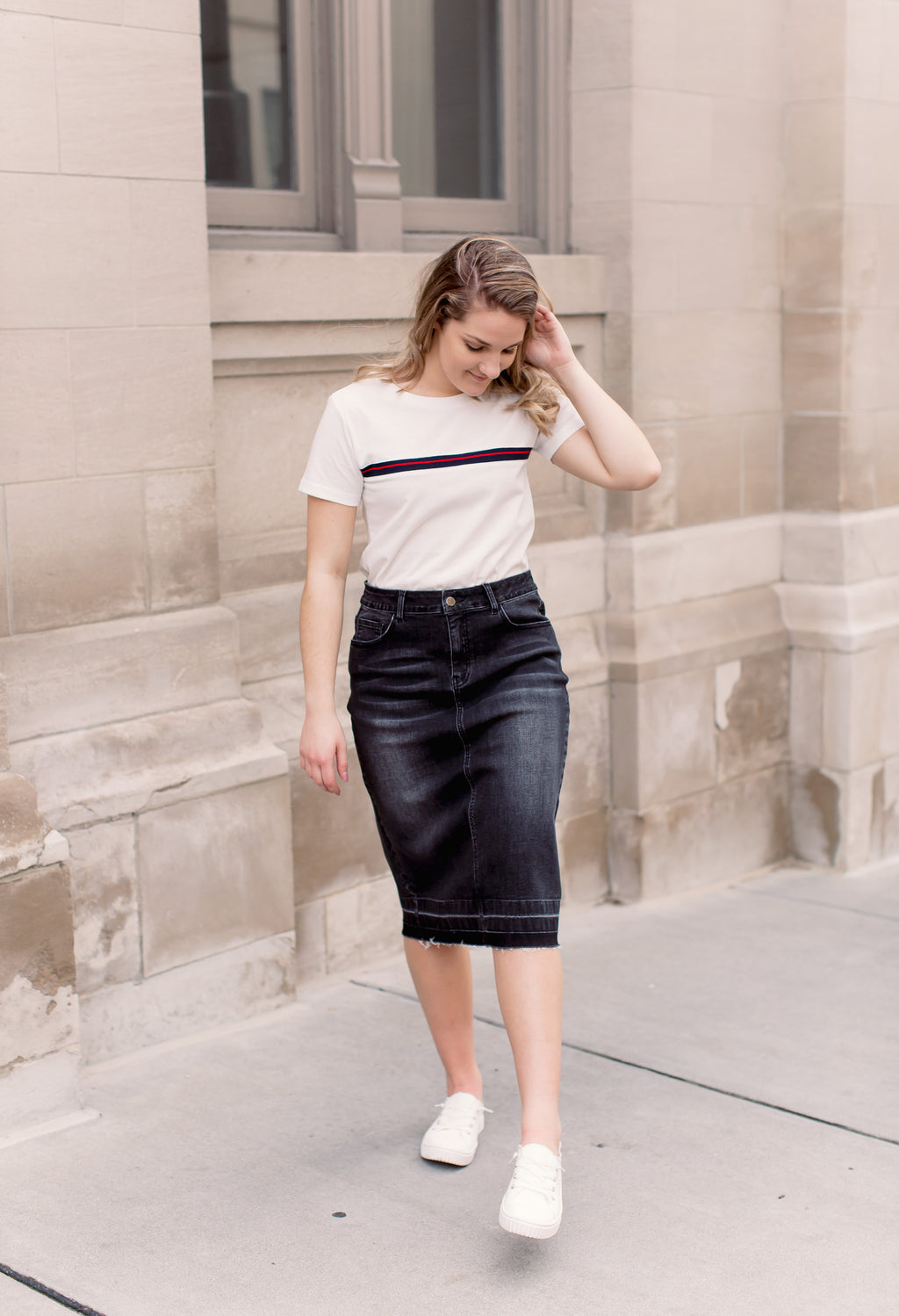 'Esme' Vintage Black Denim Skirt
