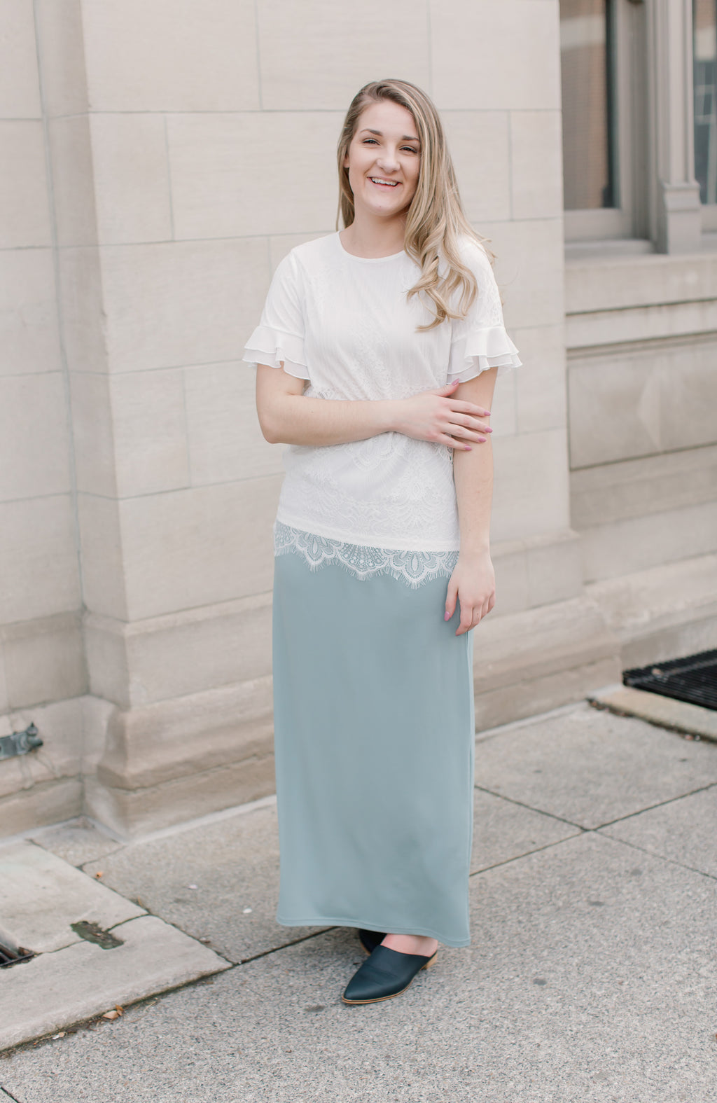 'Claire' Skirt in Seaglass