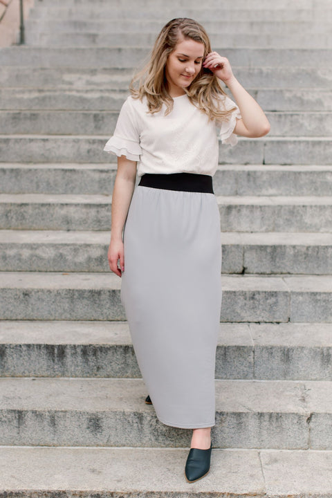 'Claire' Skirt in Harbor Gray