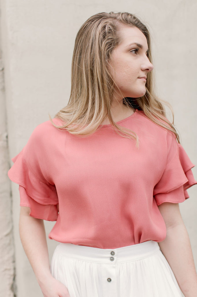 Avalon Top with Ruffle Sleeve Detail in Baked Rose