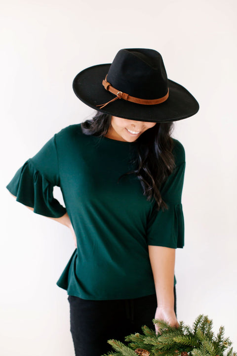 'Archer' Bell Sleeve Top in Deep Green