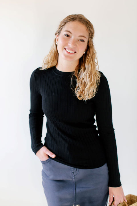 'Aston' Ribbed Sweater Top in Black