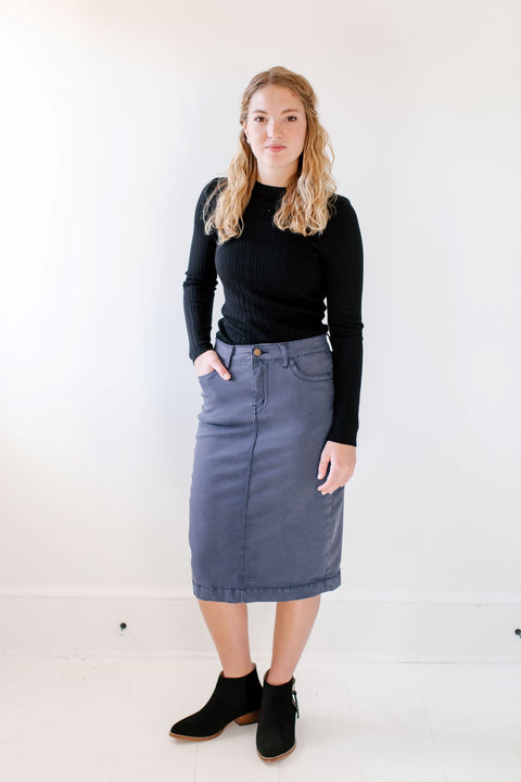 'Leah' Denim Skirt in Smoke Blue