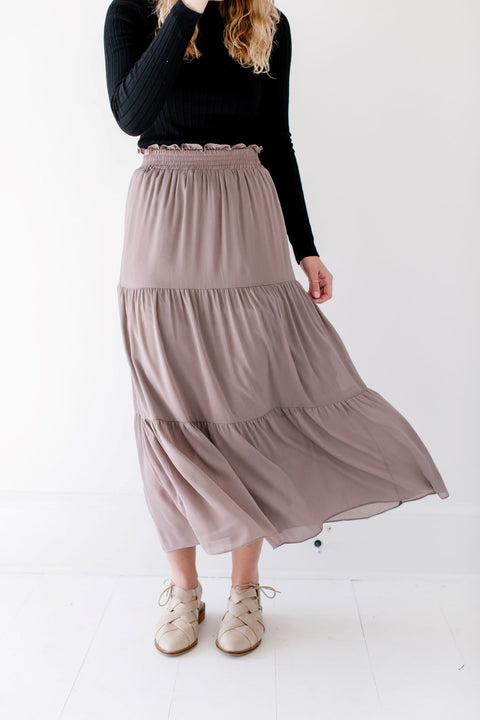 'Serenity' Tiered Maxi Skirt in Ash Mocha