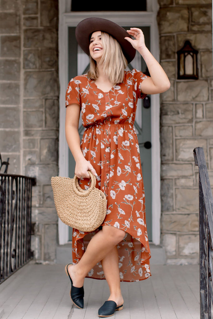 'Marlowe' Floral Hi-Low Dress in Cayenne