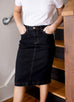 'Jia' Dark Denim Knee Length Skirt
