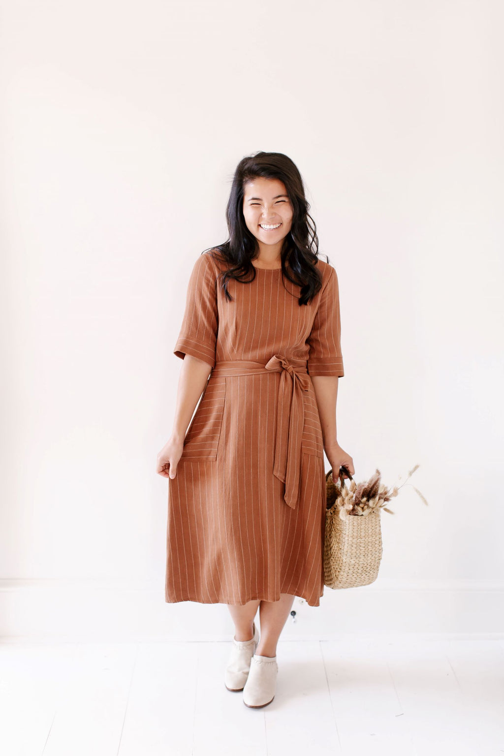 'Halle' Pin Stripe Dress in Chestnut