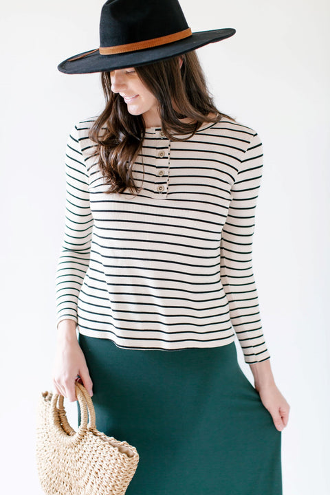 'Sloan' Striped Top with Button Detail in Oatmeal