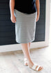 'Olivia' Skirt in Gray/White Stripes