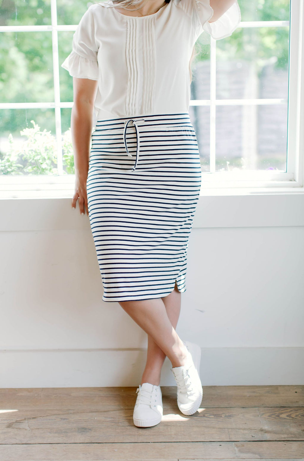 'Olivia' Skirt in Cream with Navy Stripes