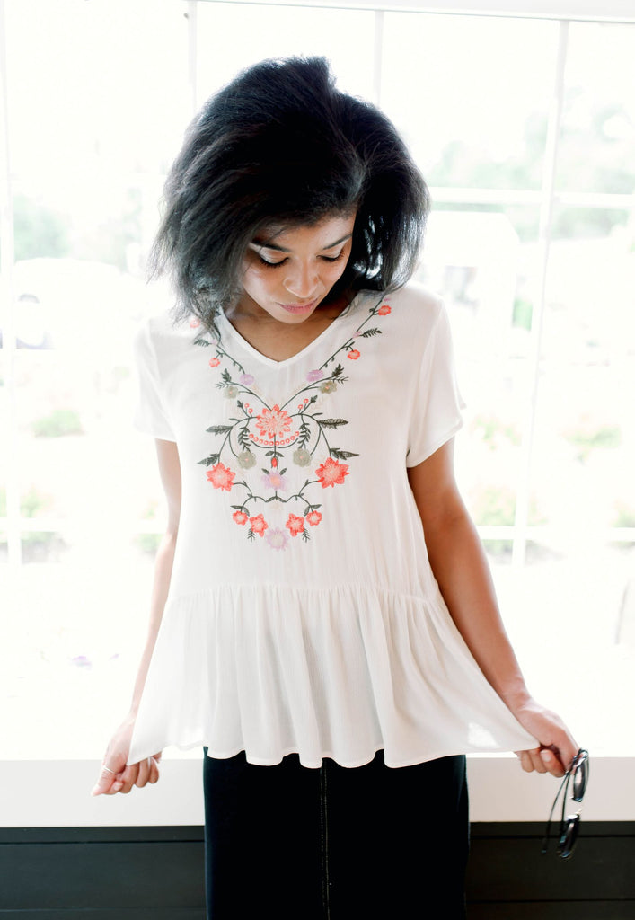 'June' Embroidered Babydoll Top